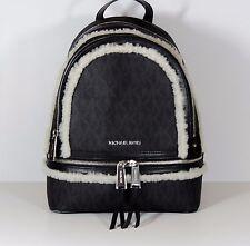 NEW MICHAEL KORS MD RHEA FUR TRIM BLACK PVC Monogram BACKPACK BOOKBAG  Bag MONO
