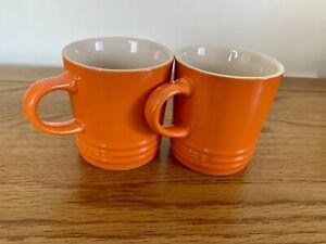 Two New Le Creuset Stoneware Mugs/Cups - Volcanic Orange - 200ml