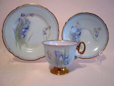 SUPERB ART DECO SHELLEY  PINK & BLUE BELL  SHAPE FLORAL TRIO