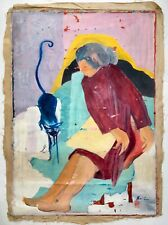 Mid Century 60s Original Chen Lok Lee Signed Oil Painting Expressionism Lady Cat