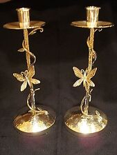 Pair of Emilia Castillo Silver Plateado Neiman Marcus Butterfly Candlestick Hold