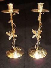 2 Emilia Castillo Silver Plateado Neiman Marcus Butterfly Candlestick Holders