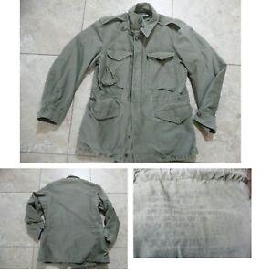 VTG 1950s Korean War US Army M-1951 M51 Cotton FIELD COAT Jacket Green S Regular