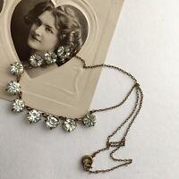 ART DECO Open Back Bezel Diamond PASTE Cut Crystal GLASS DEMI RIVIERE NECKLACE