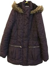 """Girls Purple (hearts)Hooded ,Quilted Coat By""""Matalan"""" Age 10-11yrs"""