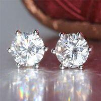2 Ct Near White Round Cut Moissanite Stud Earrings in 9K White Gold