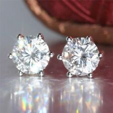 2 Ct Near White Round Cut Moissanite Stud Earrings in 9K White Gold