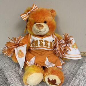 "Build-A-Bear Workshop Orange & White Plush Bear Cheer Leader Autumn Pom Pom 14"""