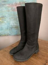 Timberland Women's 7m Black Leather Tall Zip Up Waterproof Riding Moto Boots