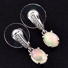 Ethiopian Welo Opal, White Zircon Platinum Over Sterling Silver Dangle Earrings