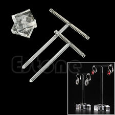 2Pcs Earrings Jewelry Display T Bar Stand Holder Rack Organic Glass