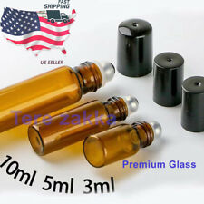 Essential Oil Amber Glass Roll on Roller Bottles 3m/5ml/10ml Empty Refillable
