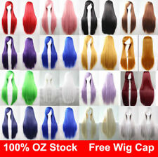 Womens 80cm Long Straight Sleek Hair with bang Synthetic Cosplay Wig Wigs Party