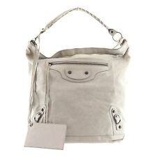 Authentic BALENCIAGA The Day Shoulder Bag Gray Leather #f28898