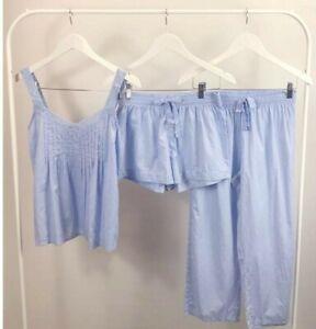 GORGEOUS LADIES BLUE COTTON 3 PC STRAPPY  PYJAMAS SHORTS CROP PANTS SIZE 8-18
