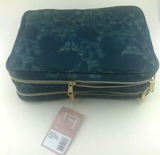 Sonia Kashuk Travel Tote 3 Piece Set Teal Blue Floral Gold Hardware New w/ Tag!