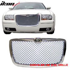 "Fits 04-10 Chrysler 300C 300-C Chrome ABS Mesh Grill Grille + ""S"" Logo"