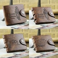 New Fashion Men Genuine Cowboy Leather Bifold Wallet Multi Clutch Pocket Purse