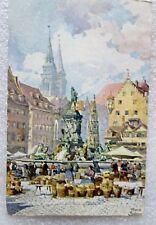 1911 GERMAN COLORED POSTCARD w BAYERN STAMP NURNBERG MARKTPLATZ by FRANZ SCHMIDT