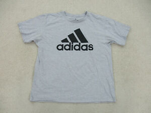 Adidas Shirt Adult Extra Large Gray Black Spell Out Logo Casual Cotton Men A23 *