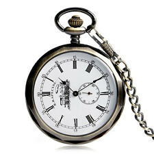 Classic Vintage Mens Mechanical Open Face Analog Pocket Watch Chain Xmas Gift