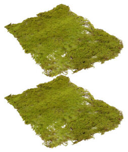 2 x WIRED ARTIFICIAL MOSS MATS, 40x30cm- FAKE,TERRARIUM,FAIRY GARDEN,WREATH,WALL