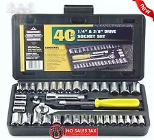 "Standard SAE & Metric 40 Piece Socket 1/4'' & 3/8"" Drive Ratchet Wrench Set New"