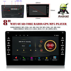 "8"" Car Player Android 9.1 Stereo GPS Navi MP5 Double 2 Din WiFi Quad Core Radio"
