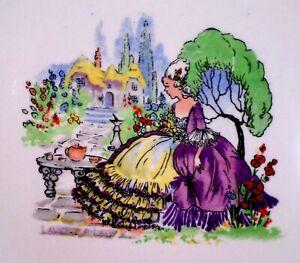 CRINOLINE LADY Cake Plate LAVENDER China VINTAGE Garden ALFRED MEAKIN Embossed