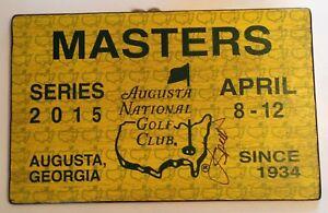 Jordan Spieth signed 2015 Masters golf badge rare large wood ticket psa dna loa