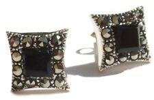 2x schwarzer Onyx 24x Markasit 925 Silber Ohrstecker  SHINY BLACK CHECK earstud