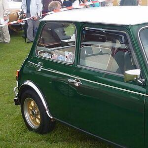Classic Mini RACING GREEN Graphics set of 3 Silver/White FREE P+P UK shop