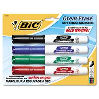 """""""BIC Great Erase Grip Chisel Tip Dry Erase Marker, Assorted, 4/set"""""""