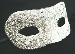Premium Silver Masquerade Crushed Crystals New Years Party Costume Eye Mask