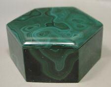 Malachite Hexagon Box 2.25 inch Stone Green Gemstone Africa Jewlery Box #5