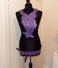 purple gold boho ethnic embroidery lace applique patch motif  kameeze asian