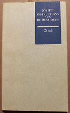 SWIFT/INSTRUCTIONS AUX DOMESTIQUES/ED CIRCE/1991