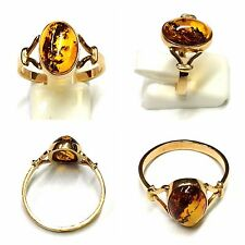 Anello 333 Oro Anello oro ambra 8 ct. Anello in ambra 56 (17,8 mm Ø )