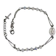 Bracciale rosario con swarovski aurore boreale mm 4 in argento 925 rodiato cm 21