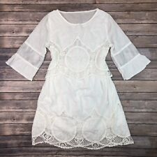 Vintage Women's White Embroidered Paisley Lace Voile Flare 60s 70s Peasant Dress