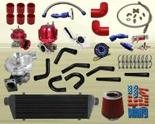 JDM Universal T3/T4 Turbo Kit Turbocharger+Intercooler+Wastegate+Bov+Gauge Red