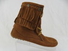 MINNETONKA Tramper 2-Layer Frill Brown Sz 8 Women Suede Boots