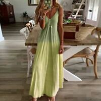 Beach Dresses Party women's summer Maxi Dress Floral V Neck Loose Long Sleeve M