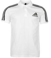Adidas 3 Stripe Logo White Short Sleeve Polo Top Mens UK Size Small *REF133