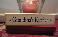 "GRANDMA'S KITCHEN Inspirational grandmother gift wood 8"" block Shelf Sitter Sign"