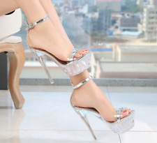 Women's High Heel Transparent Platform Sandal Clear Open Toes Buckle Strap Shoes