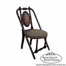 Hunzinger Signed Antique Walnut Needlepoint Side Chair circa 1869 (A)
