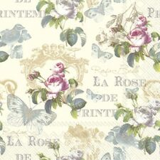 4 Lunch Paper Napkins for Decoupage Craft Vintage Napkin Pretty La Roses