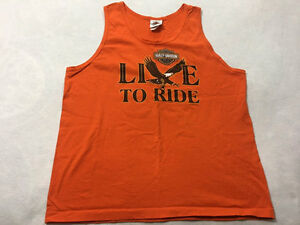 Harley Davidson L Tank Top Orange Live To Ride Eagle Beijing Shirt 1996 Large