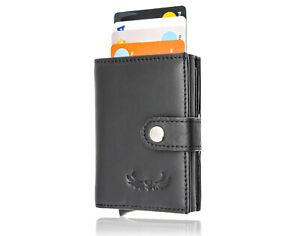 HAFEID Kartenetui mit RFID Schutz - Geldbörse - Portemonnaie Leder - Geldbeutel